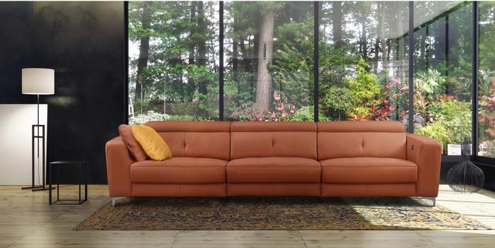 sofa en piel 3 plazas lino