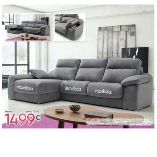 sofa de tela con chaiselongue y arcon